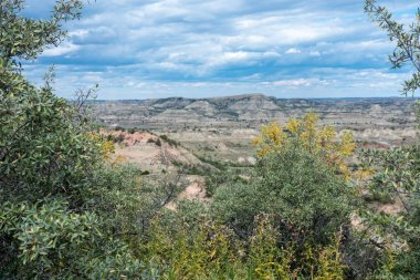 Theodore Roosevelt National Park badlands scenery near Medora, North Dakota in summer