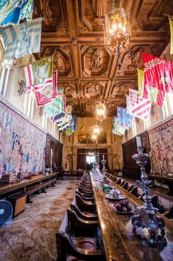 San Simeon, California - August 7, 2018: The Refectory, also known as the grand dining hall inside Hearst Castle. This room was designed with themes from the Middle Ages,