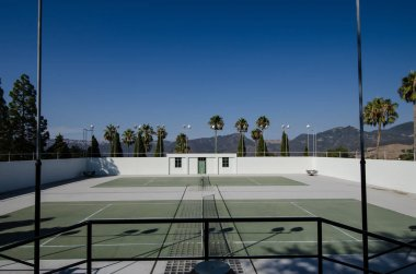 San Simeon, California - August 7, 2018: Tennis courts at the Hearst Castle