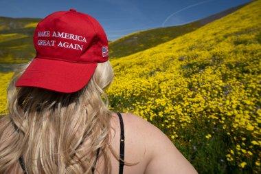 Taft, California - March 25, 2019: Blonde woman wearing a Donald
