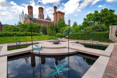 Washington, DC - May 9, 2019: The Moongate Garden with dragonfly