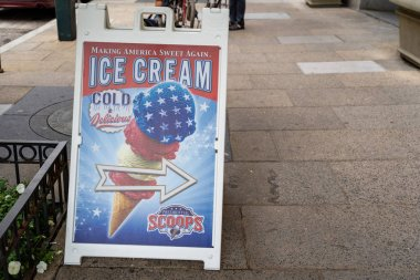 Washington DC - May 9, 2019: Sign advertising Presidential Scoop