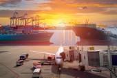 Fotografie Lieferung per Flugzeug mit Logistik und Transport