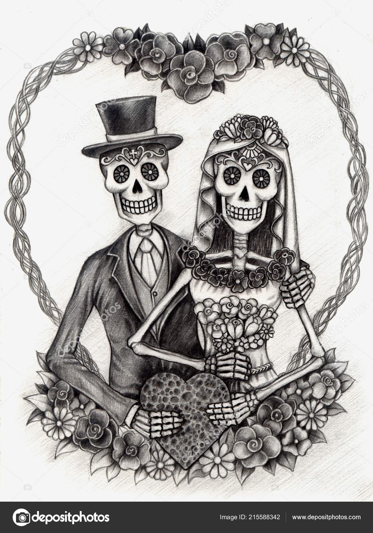 Arte Pareja Boda Calaveras Día Muertos Lápiz Mano Dibujo Sobre