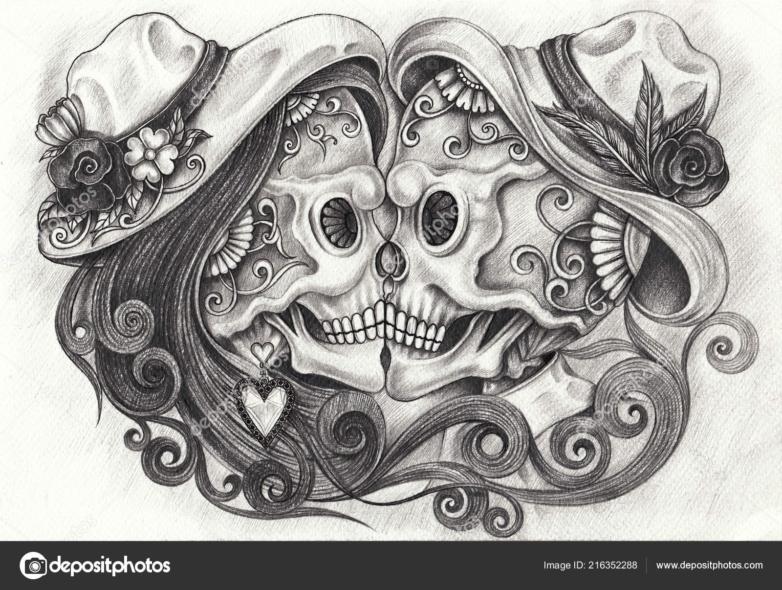 9c5dfdcec Art Couple Skulls Day Dead Hand Pencil Drawing Paper — Stock Photo ...