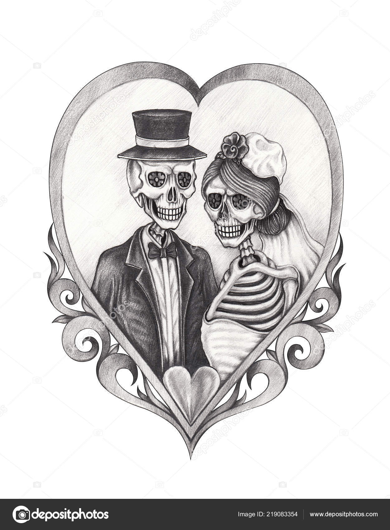 d66a64329 Art Couple Wedding Skulls Day Dead Hand Pencil Drawing Paper — Stock Photo