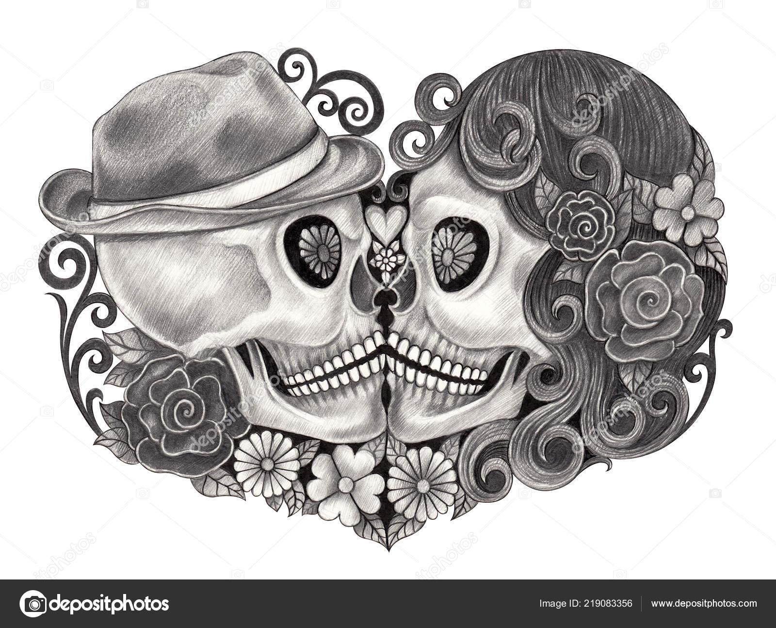 Arte Par Calaveras Día Muertos Lápiz Mano Dibujo Sobre Papel Foto