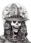 Photo Fantasy Witch Skull Halloween.Hand drawing on paper.