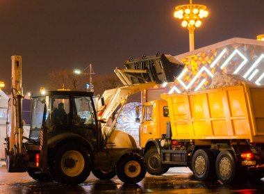Russia. Moscow. VDNH. 11.12.2018. Snow clearance.