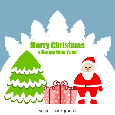 New Year and Christmas  vector greeting card, holiday background with Santa Claus