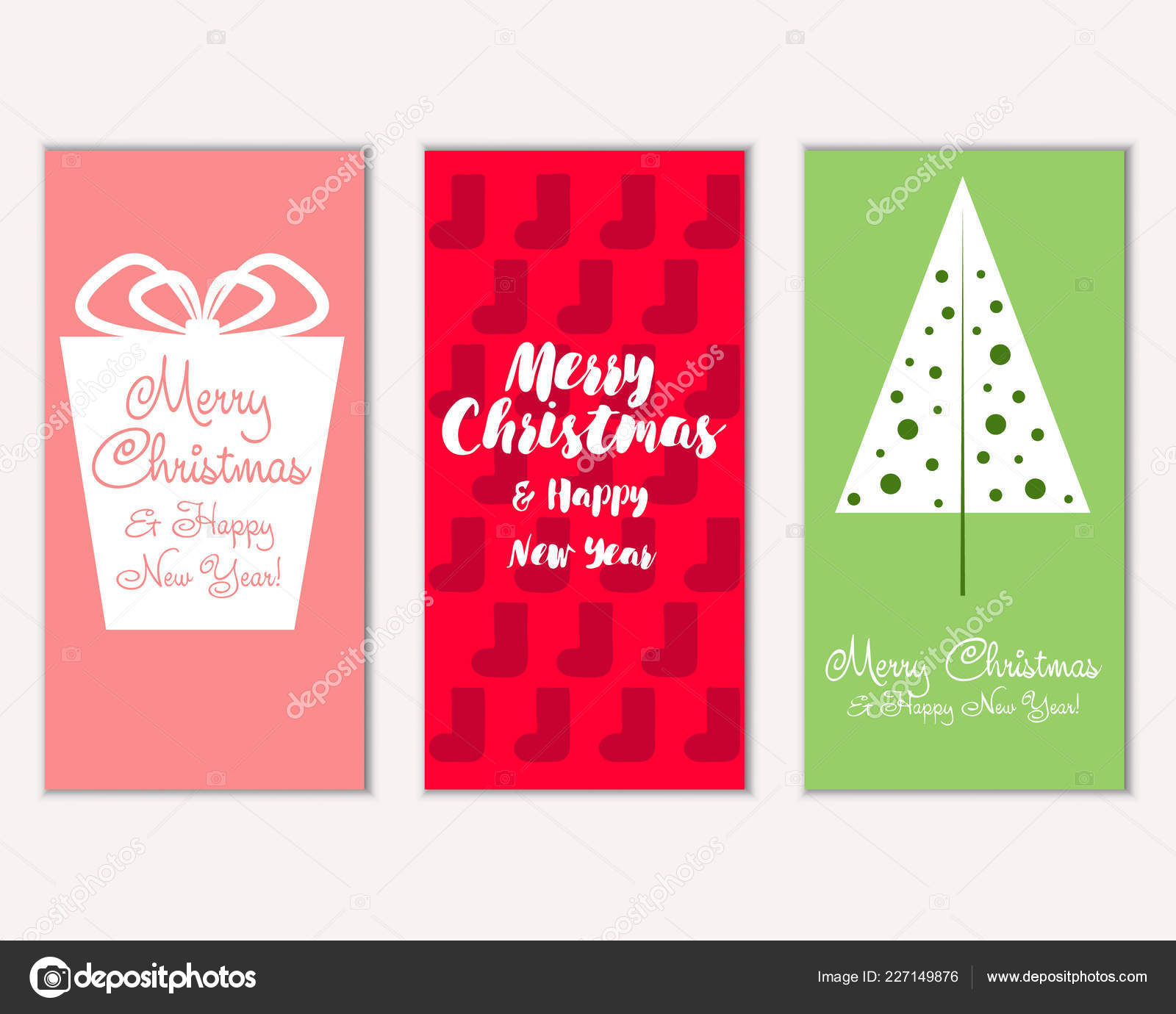 merry christmas happy new year greeting cards stock vector