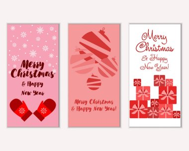 Merry Christmas and Happy New Year greeting cards. Vector illustration