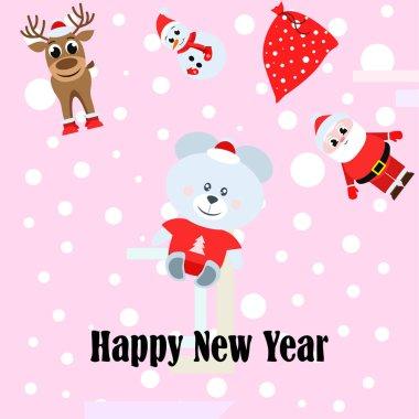 Happy  New year card. Santa Claus, snowman, deer, bear vector background