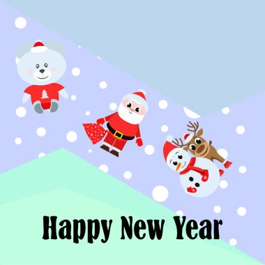 New year card. Santa, snowman, deer, bear vector background