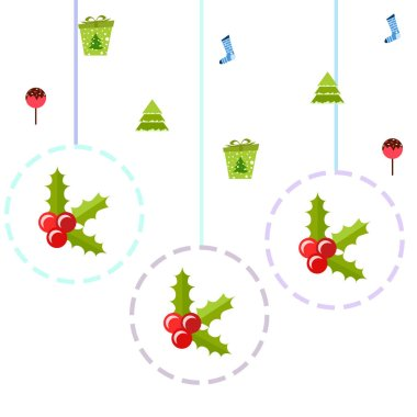 Christmas card with  candies, fir trees, gifts and  Christmas socks, vector background
