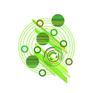 Abstract pattern with green circles on white background, vector illustration