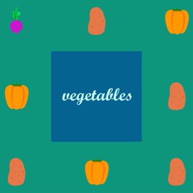 Fresh vegetables. Peppers, beets, potatoes. Organic food poster. Farmers market design. Vector.