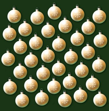 This is a gold glass bulb Christmas ornament decorated with a snowflake pattern. It is an illustration.