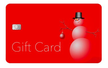 This is a holiday season gift card with a Christmas, winter, design. It is a pre-paid card that can be given as a gift.  It is an illustration.