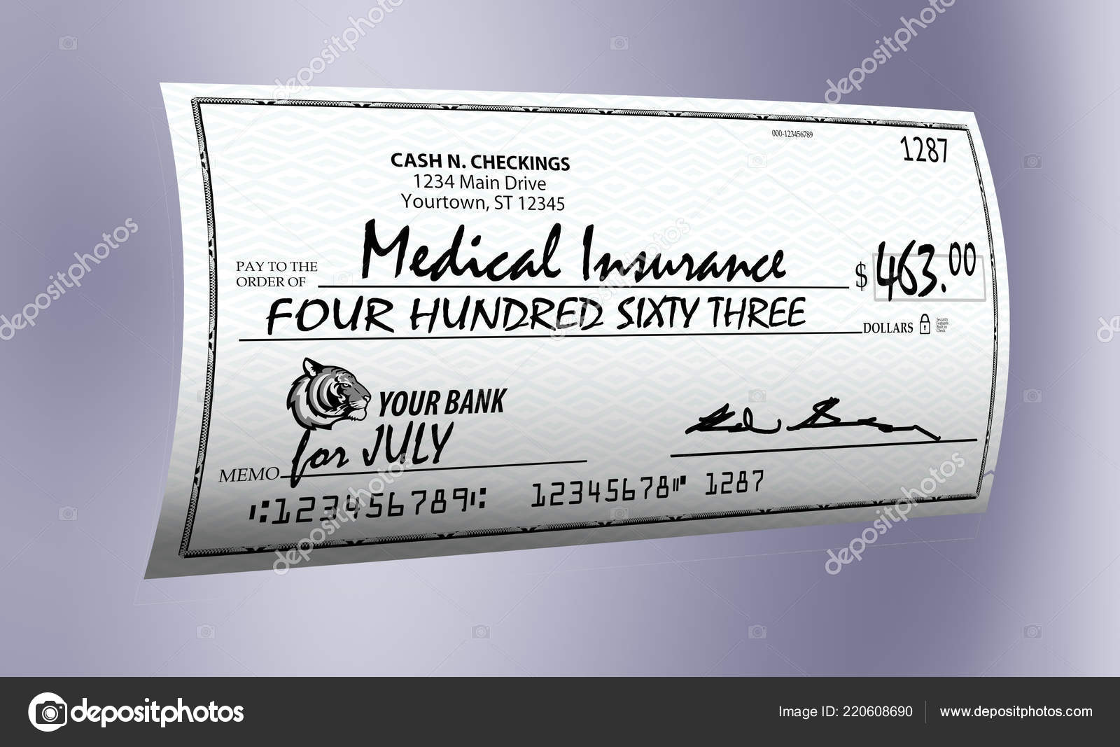 here generic mock personal bank check illustration has realism mock