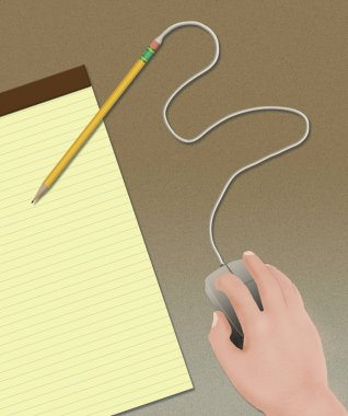 A person's hand operates a computer mouse attached to a pencil in an illustration about the old ways vs. new technology.