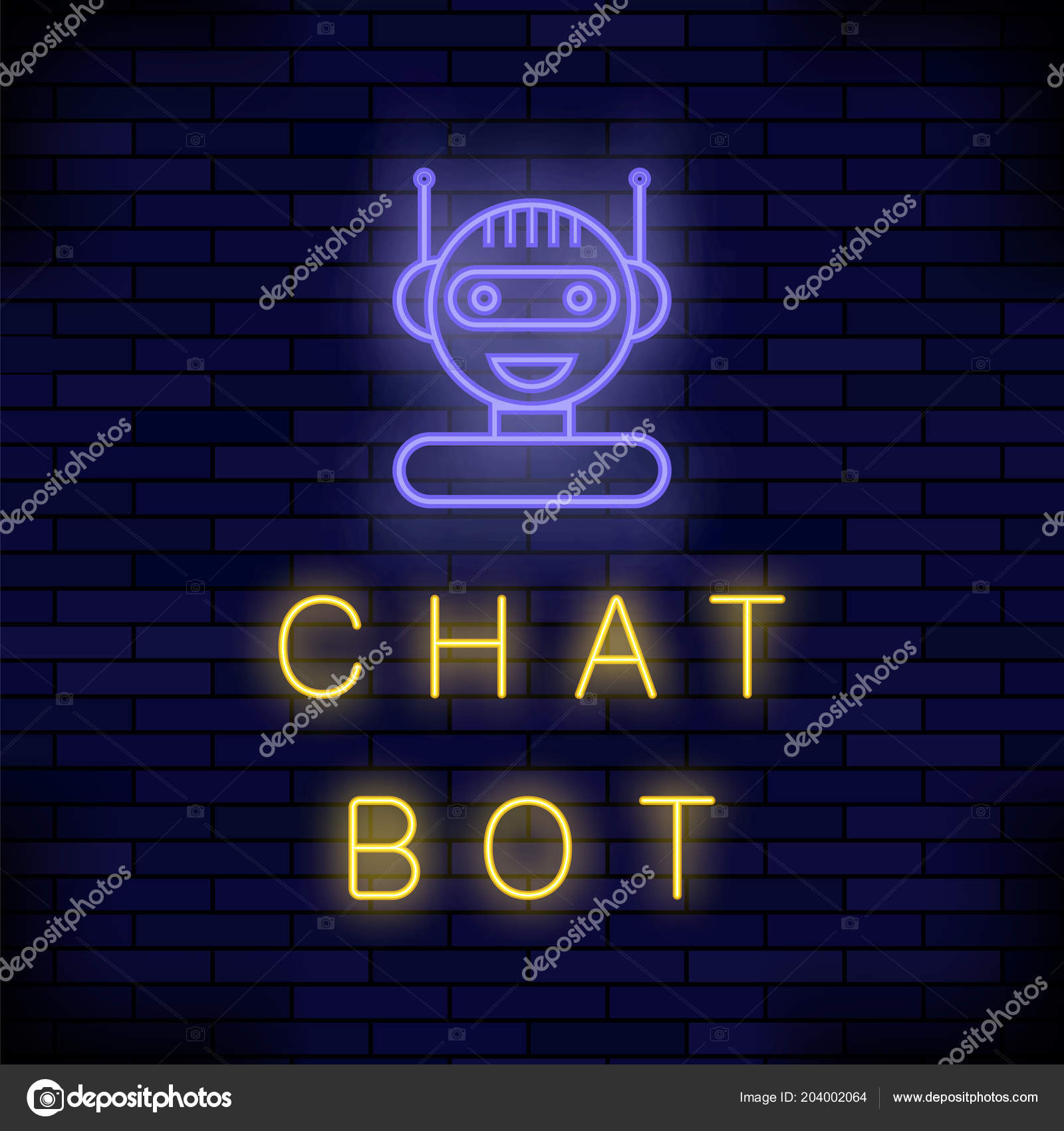Neon Chat Bot  Artificial Intelligence Concept  Cute Smiling