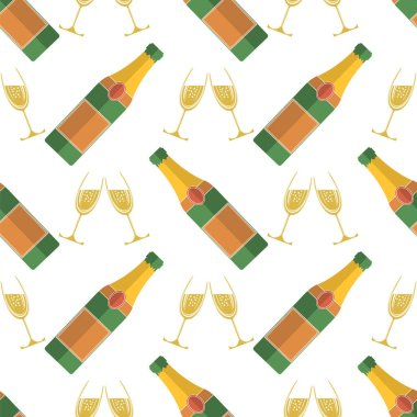 Champagne Bottle Seamless Pattern. Happy New Year. Lets Celebrate. Cheers. Alcoholic Fizzy Drink. Congratulations.
