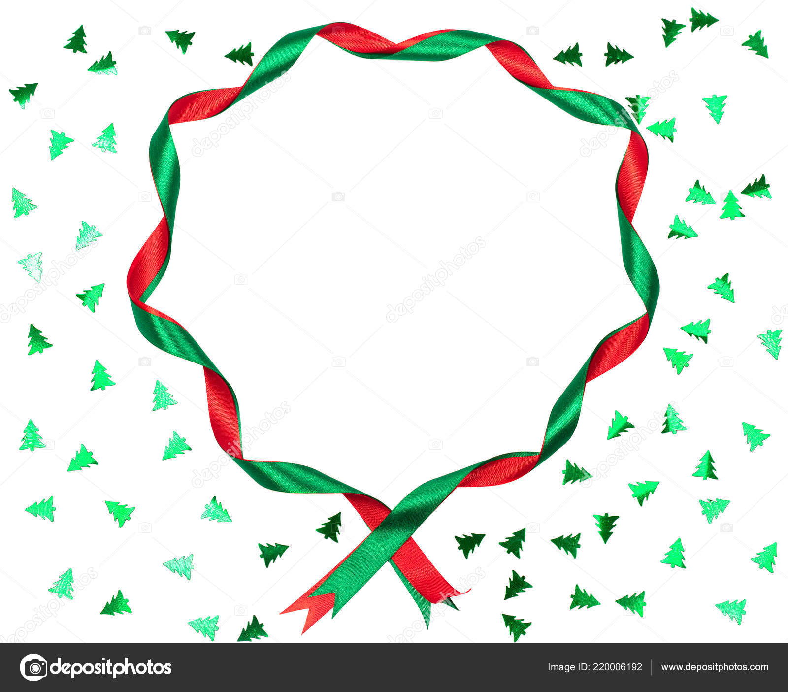 ribbons on white background with christmas tree shaped confetti perfect festive backdrop for your design new year and christmas holidays concept