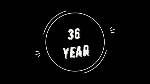 Video greeting with 36 year. Made in retro style. Can be used for congratulations of people, animals, companies and significant dates.