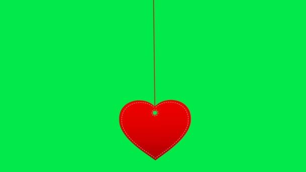 Heart label swinging. 14 Feb. Valentines day. Chromakey