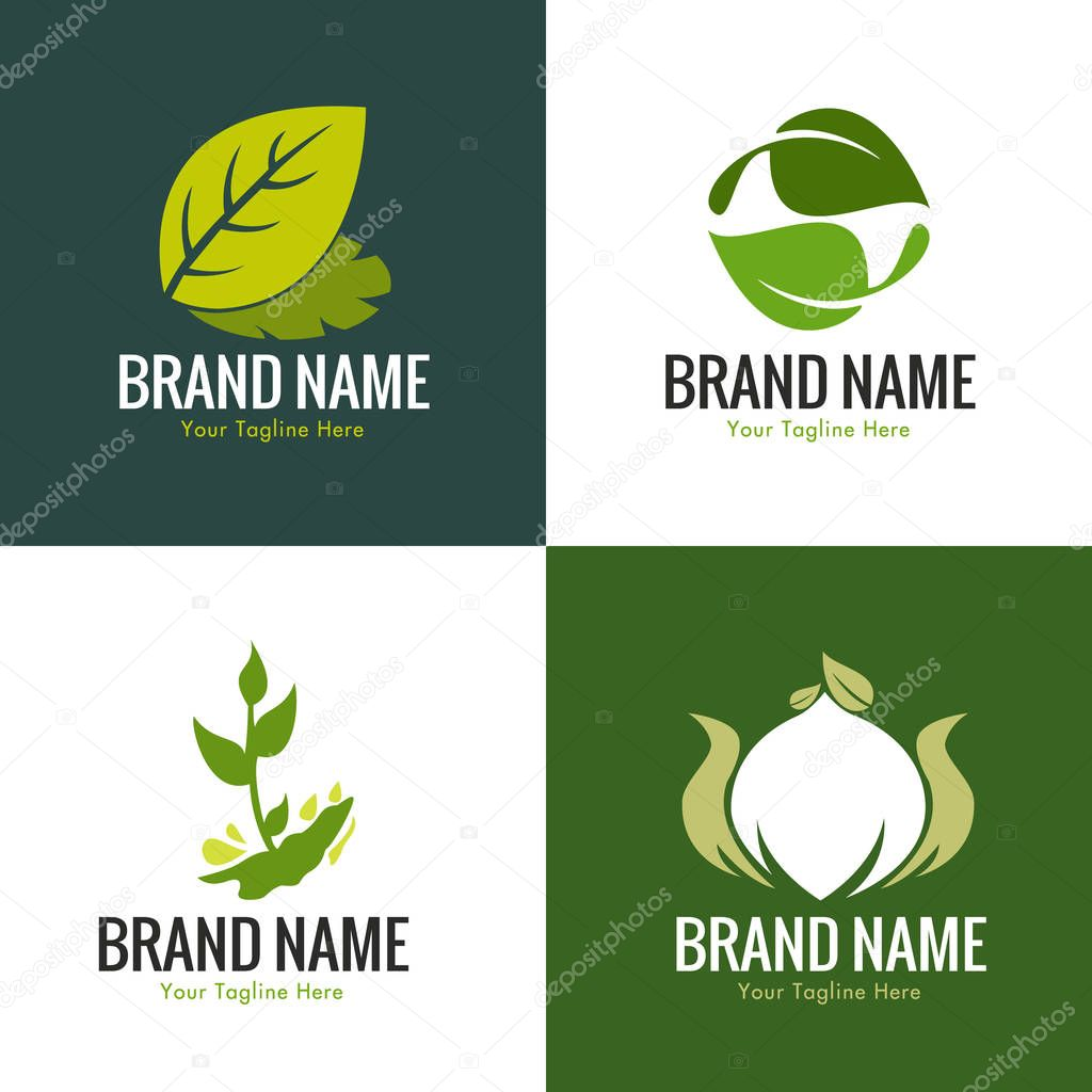 Green Leaf Nature Logo Set for health, yoga, chiropractic, food, organic, etc
