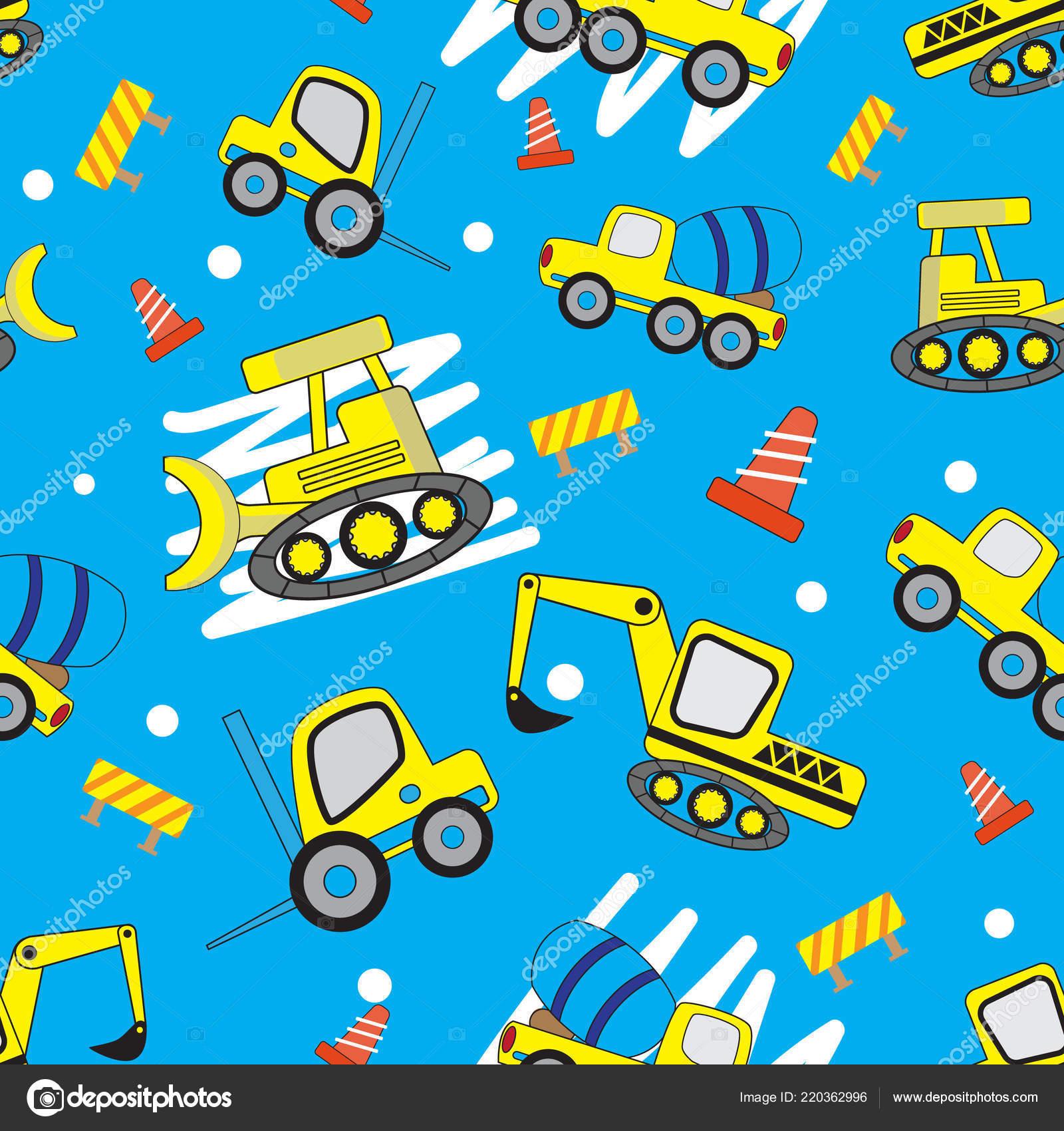 Cute Car Cartoon Blue Cute Car Cartoon Seamless Pattern