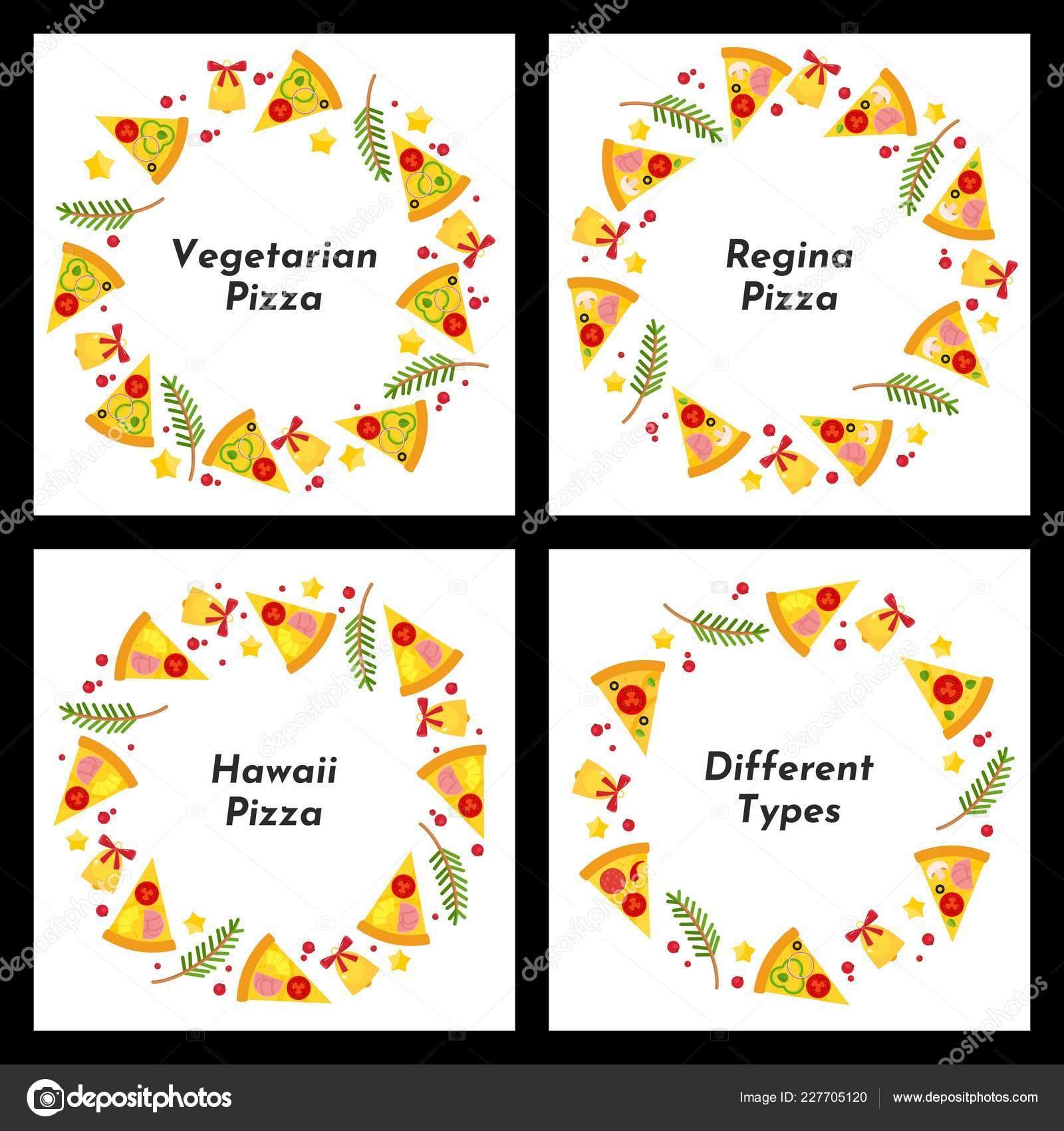Conjunto Marcos Círculo Diferentes Tipos Pizza Navidad Fondo