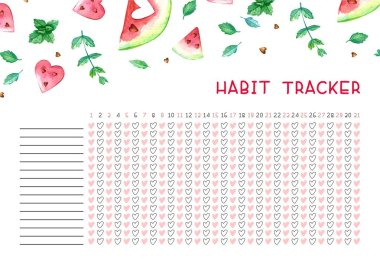 Habit tracker blank with trend design. Monthly planner template. Bright illustrations ofwatercolor watermelons and mint. Vector illustrations.