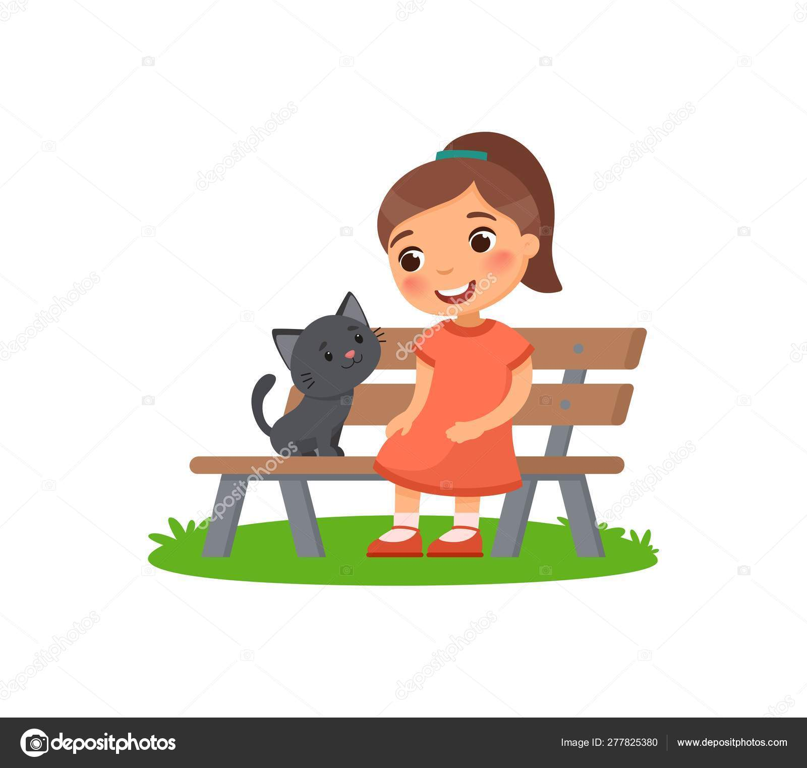 Awesome Cute Little Girl Black Kitty Sitting Bench Happy School Squirreltailoven Fun Painted Chair Ideas Images Squirreltailovenorg