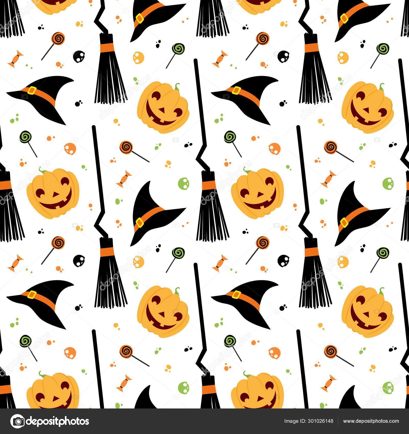 Halloween Fest Vector Seamless Pattern Witch Hat Broom