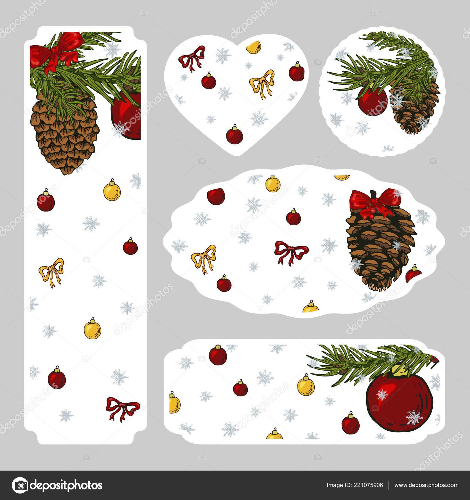 Navidad Set Pegatinas Invitaciones Carteles Flyers Coloridas