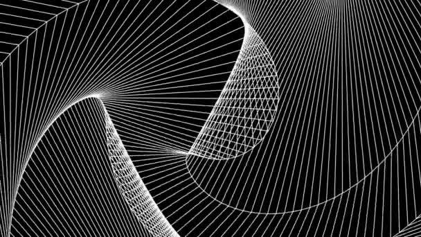Geometrické bílé čáry na černém pozadí měnící se struktura smyčka