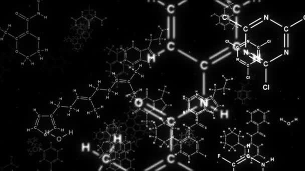 Kamera fliegt in chemische Formeln auf schwarzem Hintergrund