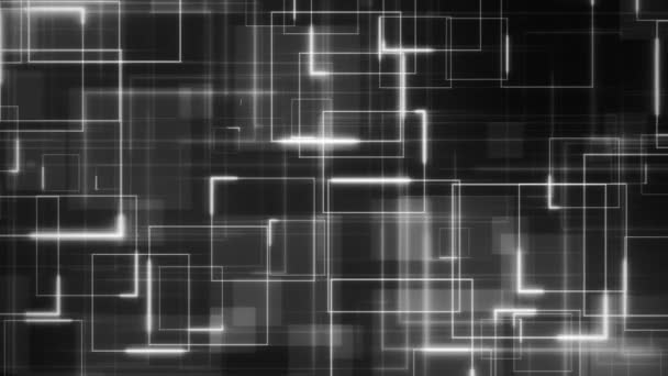 Complex sci-fi looping background formed by white glowing circuit square lines