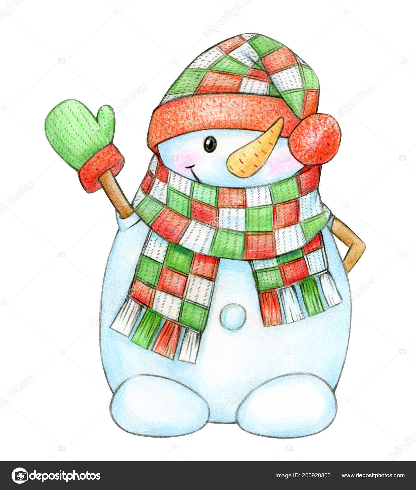 Cartoon Snowman Colorful Scarf Hat Isolated White Stock Photo