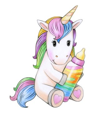 cartoon little unicorn with bottle  isolated on white