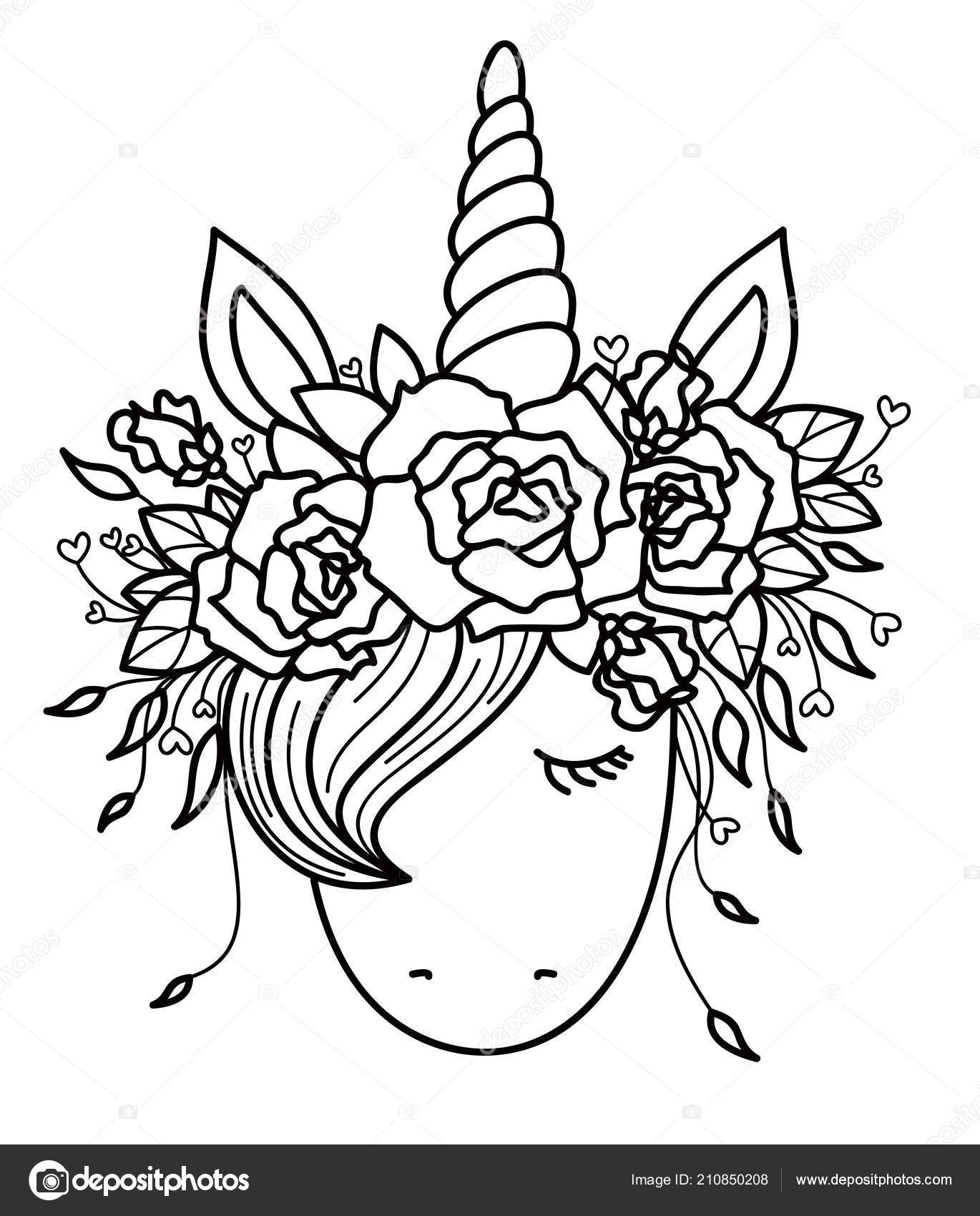 Vector Cute Unicorn Wreath Black Silhouette Isolated White