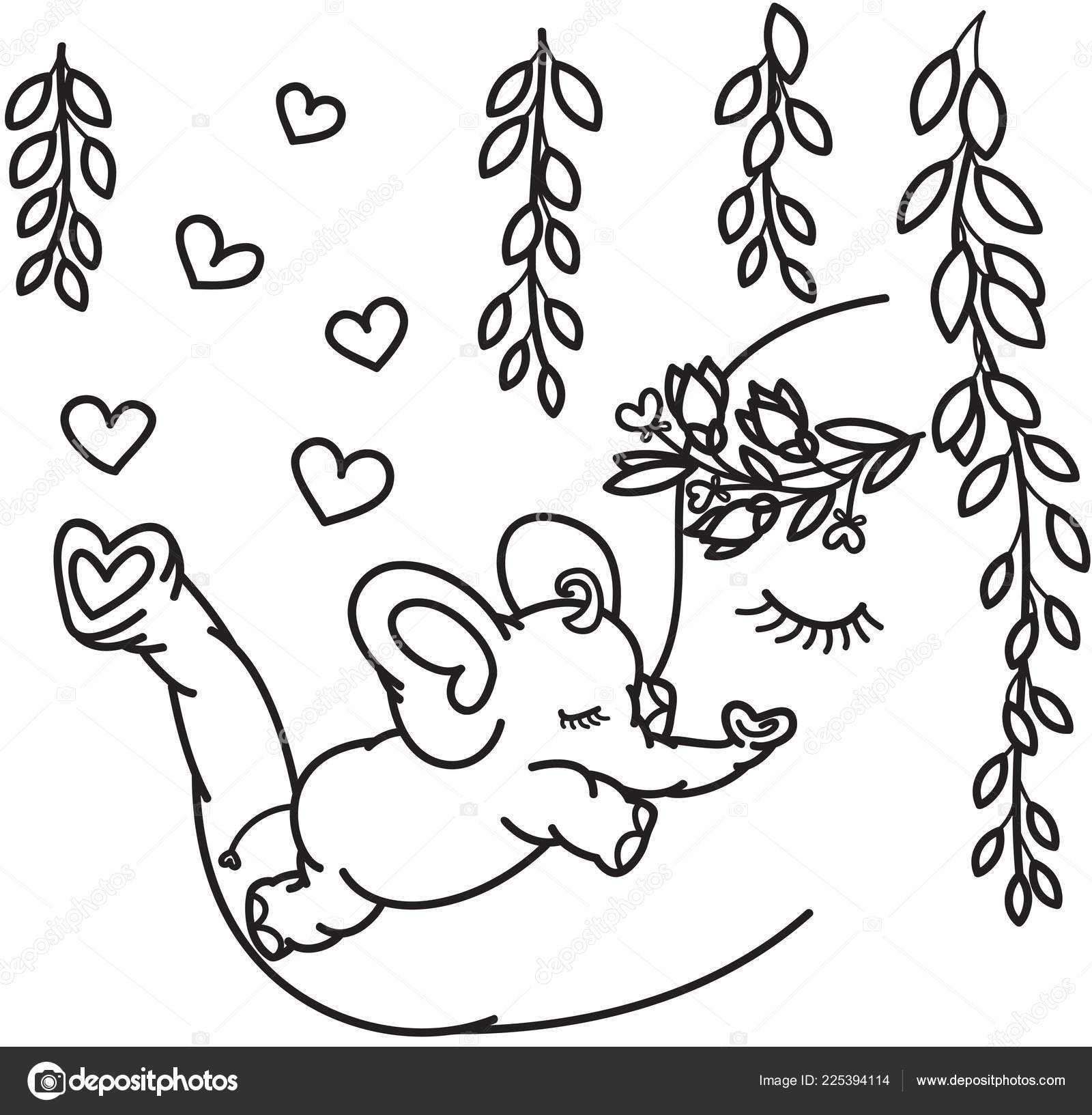 Vector Cute Elephants Mother Baby Black Silhouette Isolated White Coloring Stock Vector C Rvika 225394114