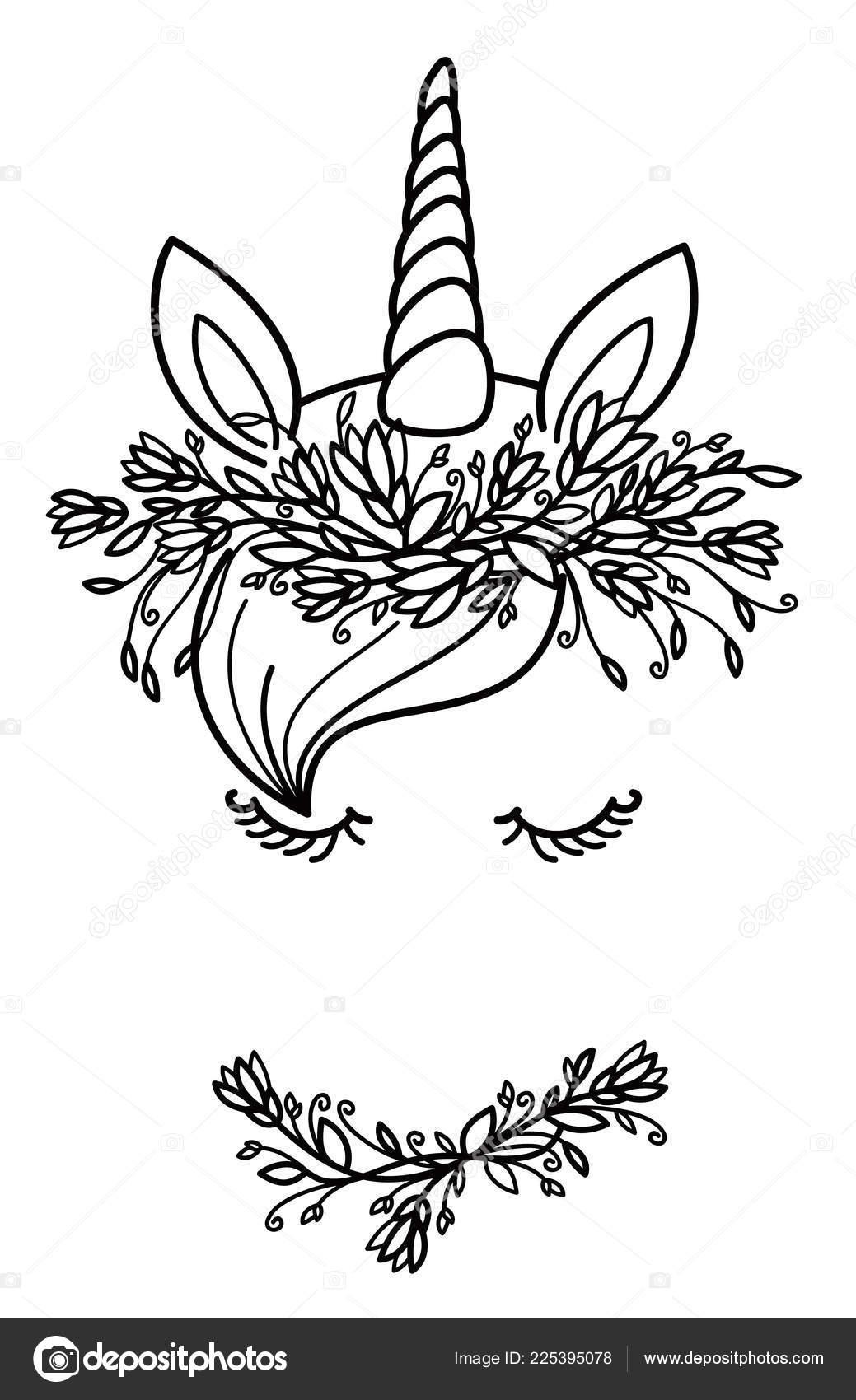 Silueta Retrato Negro Lindo Unicornio Vector Aislado Blanco Para