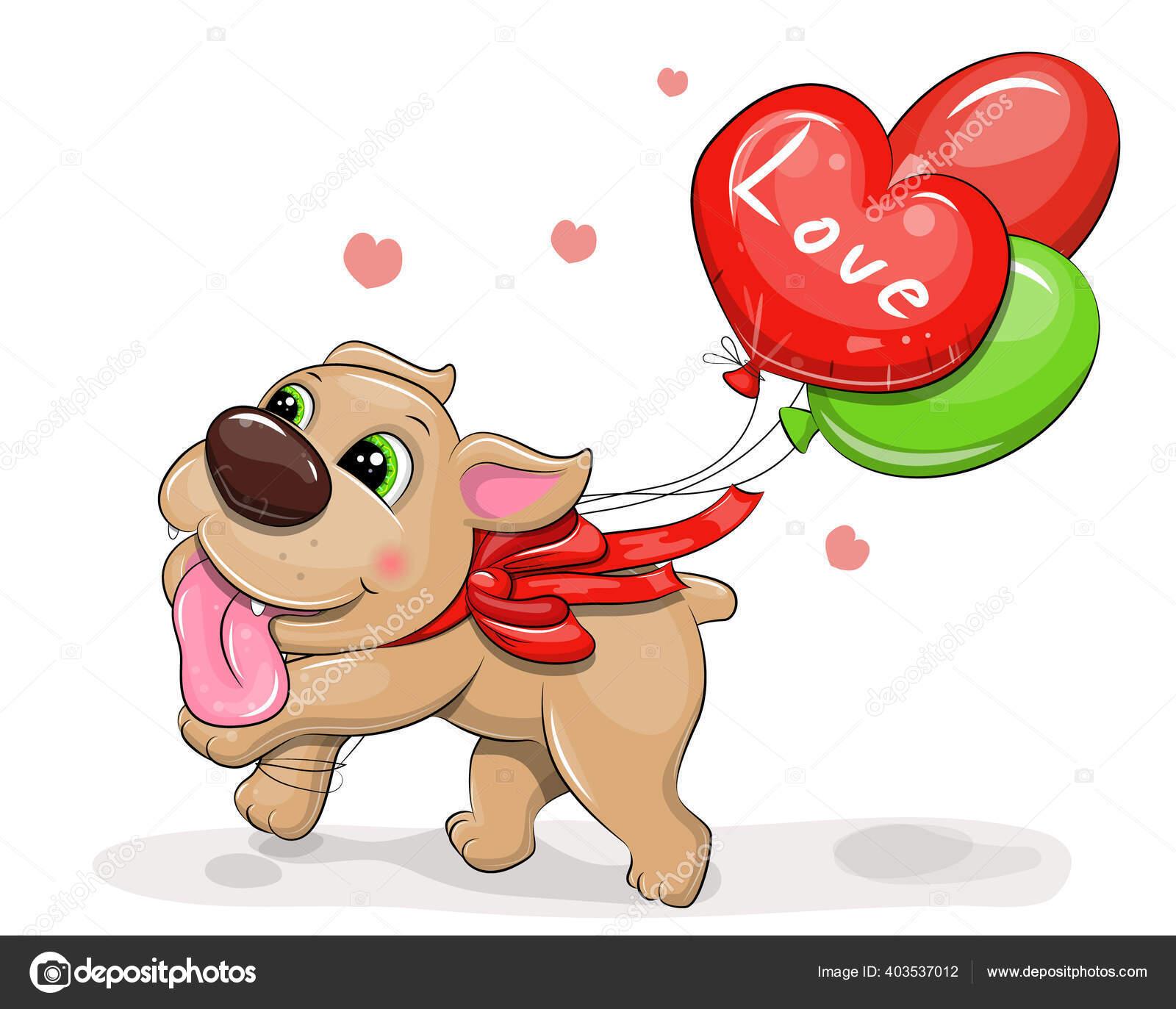 Chiot Dessin Anime Mignon Avec Des Ballons Colores Arc Rouge Image Vectorielle Oncidium C 403537012