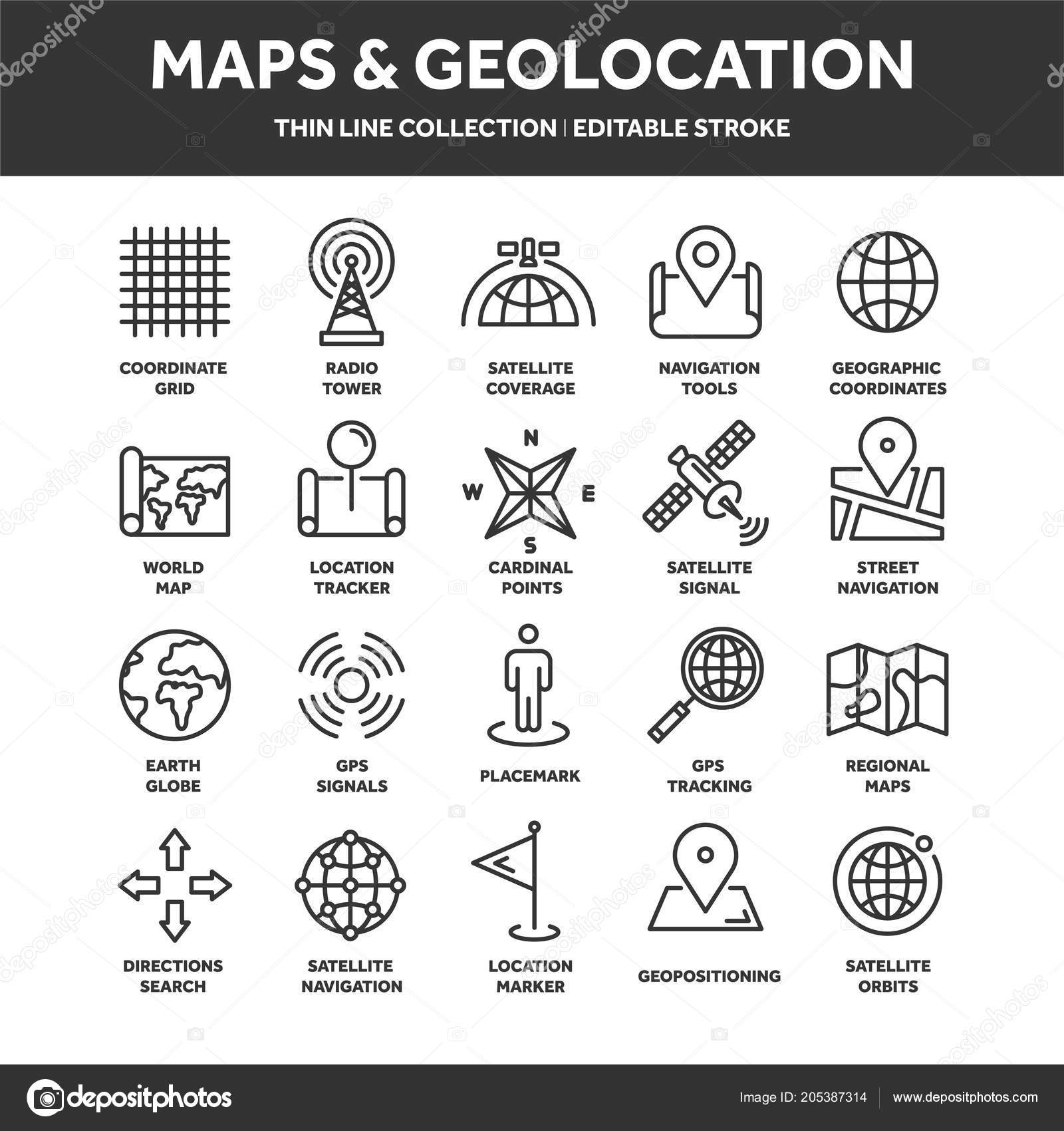 Koordinaten Karte.Karte Und Navigation Gps Koordinaten Lage Symbole