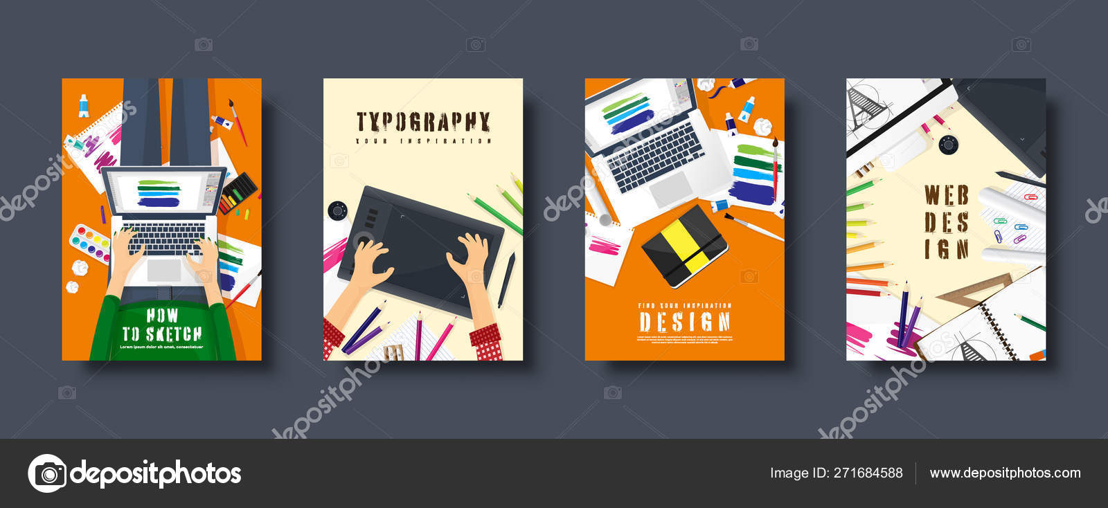 Graphic And Web Design Flat Style Covers Set Designer Workplace With Tools User Interface Design Ui Digital Drawing Online Tutorial Vector Illustration Stock Vector C Floral Set 271684588