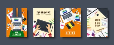 Graphic and web design. Flat style covers set. Designer workplace with tools. User interface design. UI. Digital drawing. Online tutorial. Vector illustration.