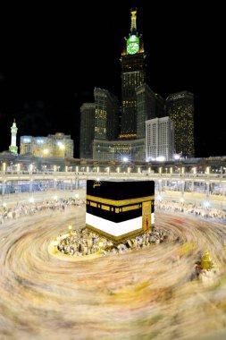 Muslim pilgrims circumambulate the Kaaba near Black Stone at Masjidil Haram in Makkah, Saudi Arabia. Muslims all around the world face the Kaaba during prayer time